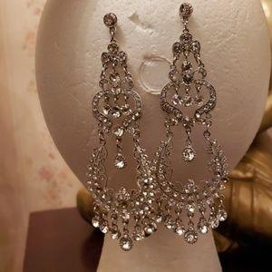 Chrystal Silver Costume Dangle 3 tier Earrings